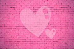 Brick wall graffiti heart, valentines day background Stock Photography