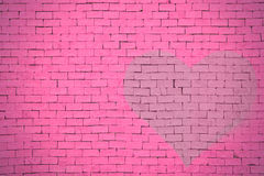 Brick wall graffiti heart, valentines day background Stock Image