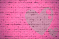 Brick wall graffiti heart, valentines day background Royalty Free Stock Images