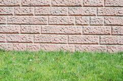 Brick wall with grass floor Royalty Free Stock Images