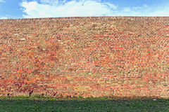 Brick wall  with grass and sky as background Royalty Free Stock Photo