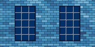 Brick wall and grating. Brick wall and metal grating windows vector illustration