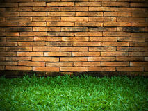 Brick Wall and Green Grass Royalty Free Stock Images