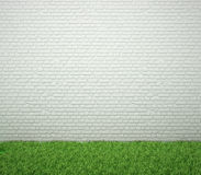 Brick wall with green grass. Royalty Free Stock Photography