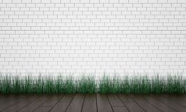 Brick wall and green grass on wood floor background. 3d render. Ing Royalty Free Stock Images
