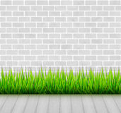 Brick wall with green grass and wooden floor vector background Stock Photography