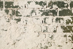 Brick wall. Green brick wall,splashes of cement Royalty Free Stock Photos