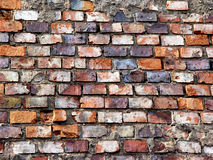 Brick wall, grungy. Old grungy wall with bricks in different colours Royalty Free Stock Photo