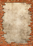 Brick wall grungy frame Stock Photos