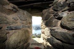 Brick wall Gun hole. Gun hole in a old brick fortress Royalty Free Stock Images