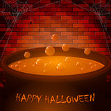 Brick wall and Halloween cauldron Stock Photography