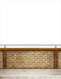 Brick wall handrail white background Stock Photos