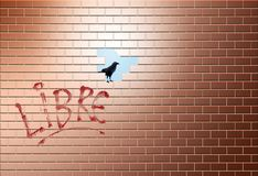 A brick wall has a hole in it allowing escape to another area, world, life or whatever is needed. A bird sits in the opening. This is an illustration stock image