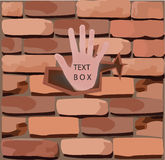 Brick wall with his hand, Stock Photography