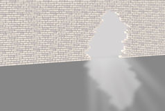 Brick wall with hole Royalty Free Stock Photography