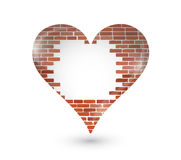 Brick wall hole on a heart. illustration design Royalty Free Stock Image