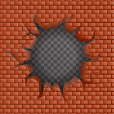 Brick wall Hollow crack hole transparent background vector illustration Royalty Free Stock Images