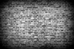 Brick wall horizontal background with bricks - black and white Royalty Free Stock Photography