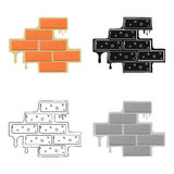 Brick wall icon in cartoon style isolated on white background. Build and repair symbol stock vector illustration. Royalty Free Stock Photography