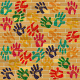 Brick Wall Indicates Multicolored Painted And Design Royalty Free Stock Images