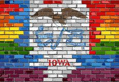 Brick Wall Iowa and Gay flags. Illustration Stock Images