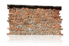 Brick wall isolated. Part of brick wall isolated stock images