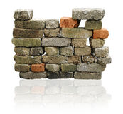 Brick wall isolated. With clipping path stock photos