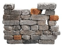 Brick wall isolated with clipping path Stock Images