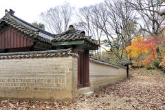 Brick wall at the Jongmyo Royal Shrine. In Seoul, South Korea. This is the supreme shrine of the state where the tablets of royal ancestors are enshrined. It is stock photos