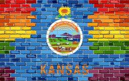 Brick Wall Kansas and Gay flags - Illustration, Rainbow flag on brick textured background, Abstract grunge Kansas Flag and LGBT f. Lag stock illustration