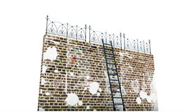 Brick wall with ladder Royalty Free Stock Photo