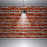 Brick wall and lamp, abstract retro vintage interior, Vector background. Brick wall and ceiling lamp, abstract retro vintage interior, Vector background Royalty Free Stock Photos