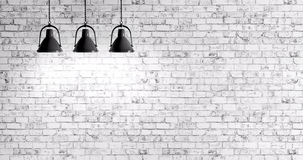 Brick wall with lamps background. White brick wall with three lamps background Stock Photography