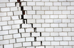 Brick wall with a large crack Royalty Free Stock Photo
