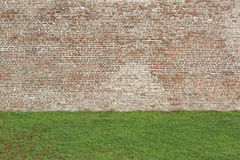 Brick wall and lawn texture Royalty Free Stock Photography