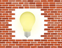 Brick wall and light bulb illustration design. Over a white background Royalty Free Stock Image