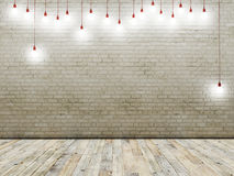 Brick wall with light bulbs, background Stock Image