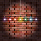 Brick wall and light bulbs Royalty Free Stock Image