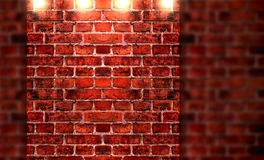 Brick wall and lights Royalty Free Stock Photography