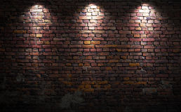 Brick wall with lights. Old brick wall with stage lights stock image