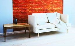 Brick wall in the living room interior. 3d illustration Royalty Free Stock Photos