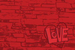 Brick Wall Love. The word love written on a brick surface with copy space Stock Illustration