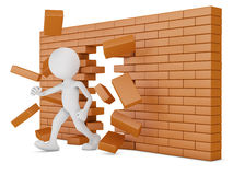 Brick wall. Man destroys a brick wall -3d render Stock Photo