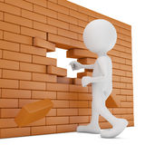 Brick wall. Man destroys a brick wall -3d render Royalty Free Stock Images