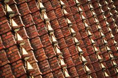 Brick wall with metal decoration Stock Photo