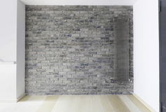 Brick wall with modern steam heat radiator Stock Photo