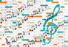 Brick wall and musical notes Stock Image