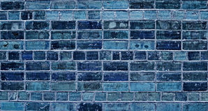 Brick wall. Newly built house, background, texture, blue Royalty Free Stock Photography