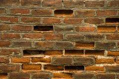 Brick wall. Old wall with broken bricks Stock Images