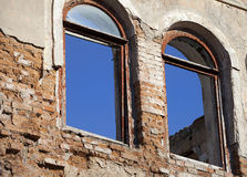 Brick wall of old destroyed house Stock Image